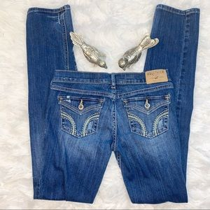 Hollister Embroidered Distressed Skinny Jeans Sz 0